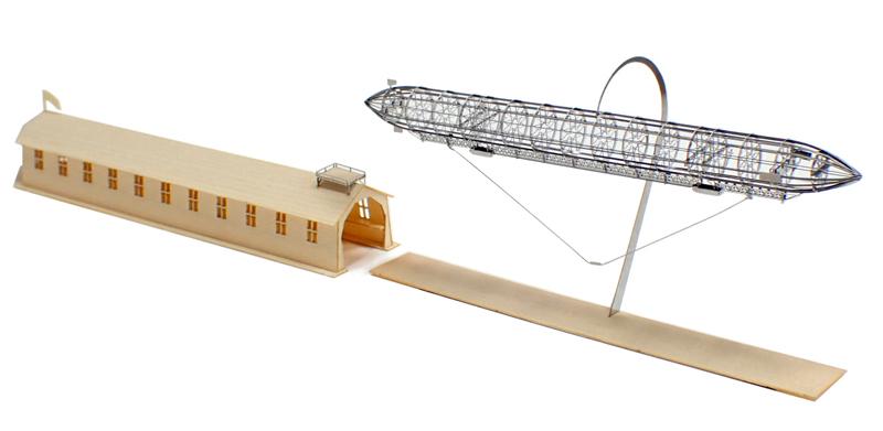 飛行船と格納庫のセット